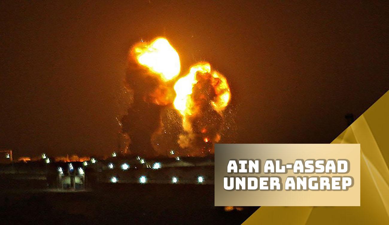 Bildet viser amerikanske militær basen i Ain al-Assad i Irak under angrep av Iranske missiler i natt. Bildet er hentet fra øyevitner fra Irak.