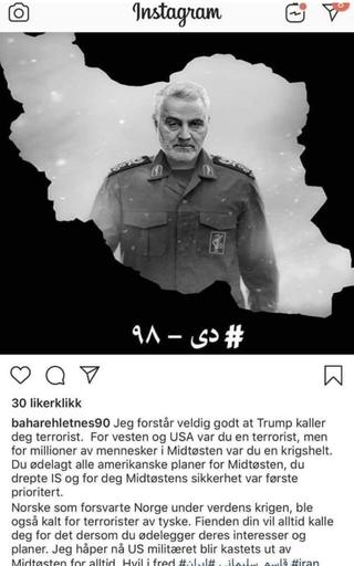 INSTAGRAM: Dette innlegget ble lagt ut på Letnes sin konto, og senere slettet. Foto: Skjermbilde Instagram